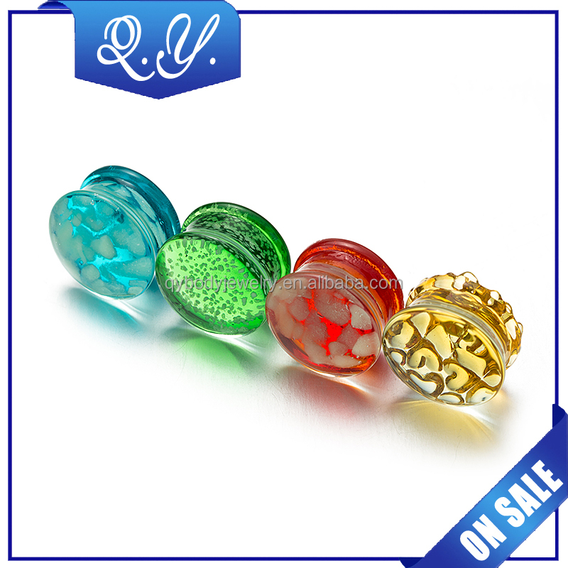 Colorful Glass Body Piercing Jewelry Fashion Organic Glass Ear Tunnels and Plugs, Beautiful Sandbeach Butt Ear Expander Jewelry