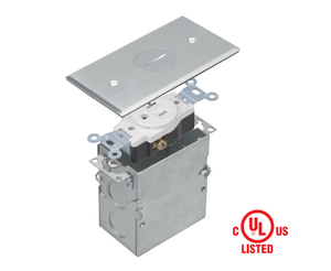 705547-S Floor Box 1 Gang Receptacle 20A Tamper / Weather Resistant Single Receptacle, UL Listed - Stainless steel