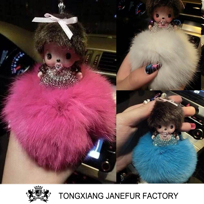 Hot new special bag hangings plush toy key chain fur pom poms ball