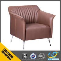 Hot selling PU leather single seater sofa chair waitting chair armchair with stainless steel base