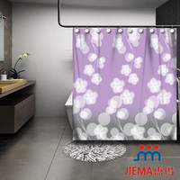 New design beautiful flowers style 2014 fashion 100% polyester shower curtains fabric,bath curtains