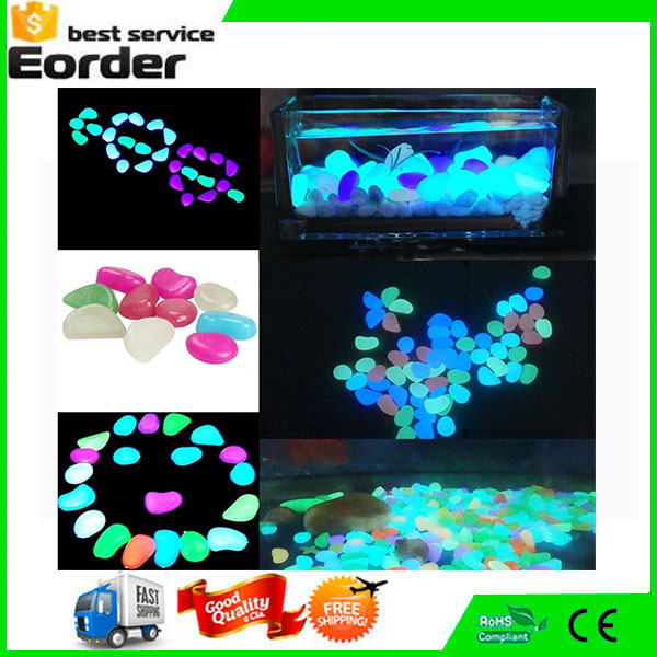 MOQ=10 Bag Perfect Mix-color Decorative Fluorescent Luminous Colorful Gravel For Fantastic Garden Yard Glow in the Dark Pebbles