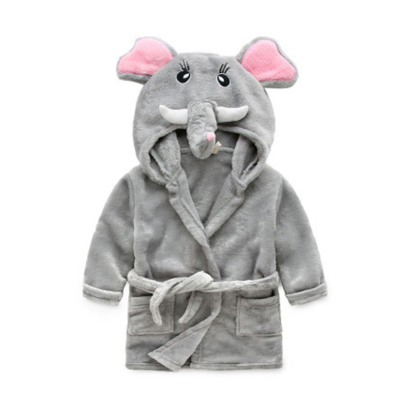 Autumn Winter Children's Bathrobes Boy Girl Cartoon Flannel Hooded Sleepwear Peignoir Kids Cute Robes Pajamas