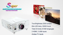 2200 Lumens Native 800*600 150 Inches Big Screen Mini Home Projector