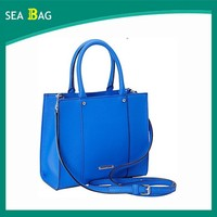 Popular Western Style Blue color Leather Women Tote Hand bag Lady Handbag 2016
