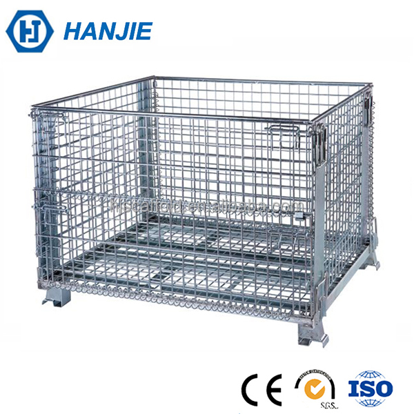 Heavy loading mesh box wire cage metal bin storage container