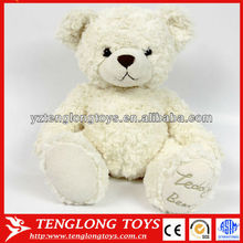 New material stuffed white bear toy pure sitting teddy bear toy with embroidery