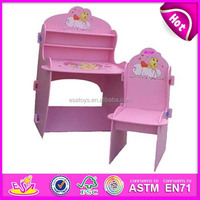 Pink kids wooden school desk and chair,wooden toy children school desk and chair,best seller baby school desk and chair wj278370