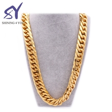 79CM and 20MM Wide Hip Hop Style Gold Plated Link Chain Jewelry Stainless Steel 18K Gold Long Necklace Men Necklaces Jewelry