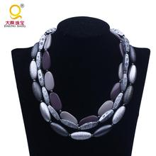 Latest design 3 layer grey resin choker necklace cheap plastic bead jewelry
