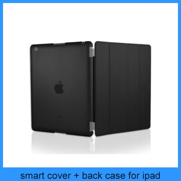 Magnetic Smart Cover Case W/Stand + Ultra Slim Back Cover For iPad 2 iPad 3 iPad 4-- BLACK