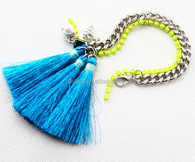 Design Custom Jewelry Made Fashion Product Colorful Personalized Charm Braided Bracelet,Bohemia Blue Tassel Bracelet,