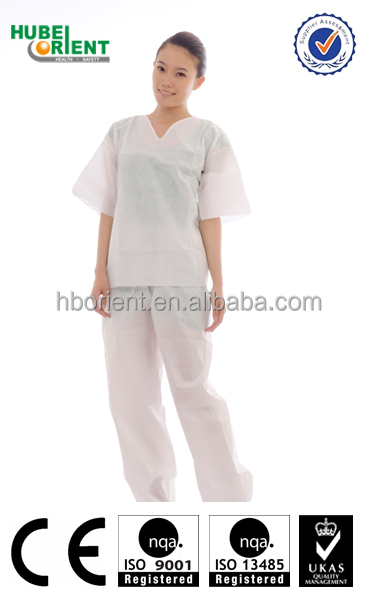 comfortable disposable SMS pajamas kit V neck shirt and trousers