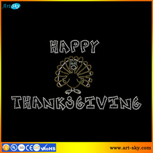 Artsky wholesale crystal picture rhinestone sticker Happy Thanksgiving Turkey custom t shirt transfers
