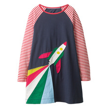 XZ Red and white stripes fall <strong>girl's</strong> pure cotton <strong>dress</strong> rocket pattern Long sleeved princess skirt in autumn children's skirt