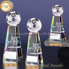 football trophy 3D crystal glass football solid trophy award