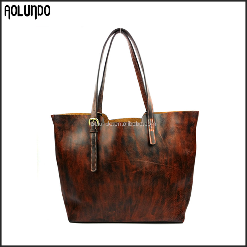 Lady 2016 fashion vintage women genuine leather retro style tote bag