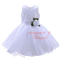 Hot Fashion White Girls Party Dresses Decorate With Rose Striped Girl Prom Dress Gauze Kids Wear For Wholesale GD31025-13