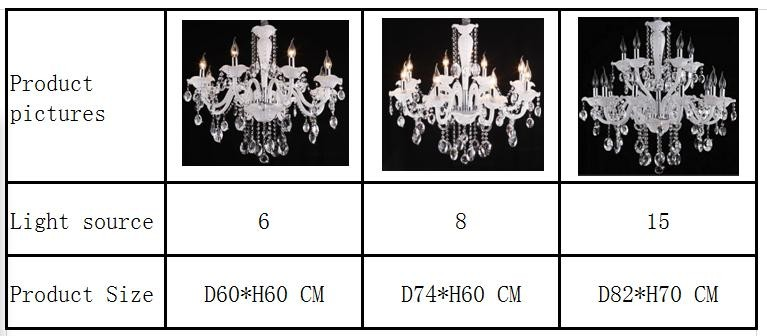 Modern white color glass clear crystal fashion chandelier for home lighting