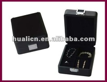 matt black lacquer finish wooden jewelry gift box with silver lock