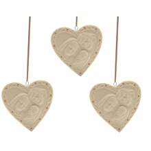 Christmas Heart with Holy Family White Ceramic Heart Ornament