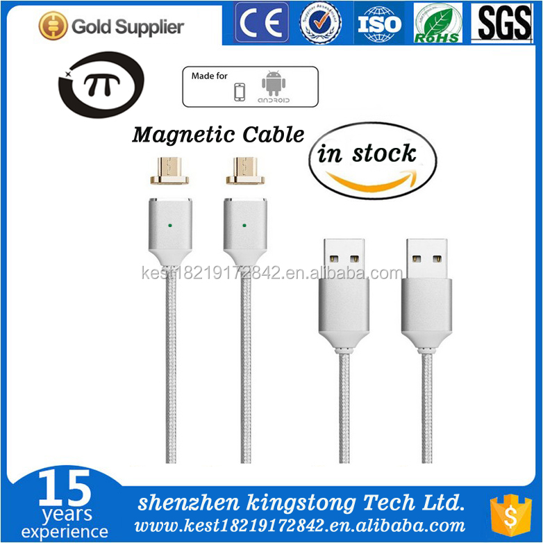 3ft Metal Magnetic Android Data Charging Cable Cord, Nylon V8 Braid USB Cable Magnetic