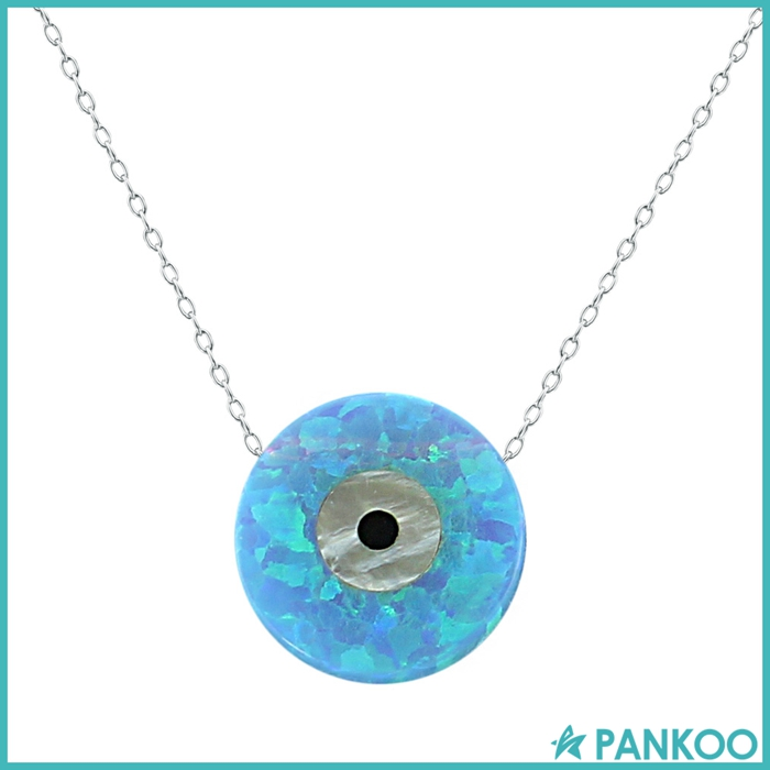 Light Blue Opal Stone Collar Necklace Round Shape Necklaces High Quality 925 Sterling Silver Necklace Jewelry