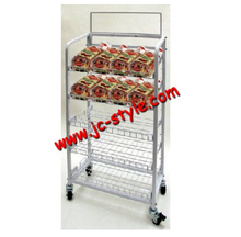 Floor standing bread and cakes display shelf for supermarket sales promotion/custom metal basket sugar and cookies display rack