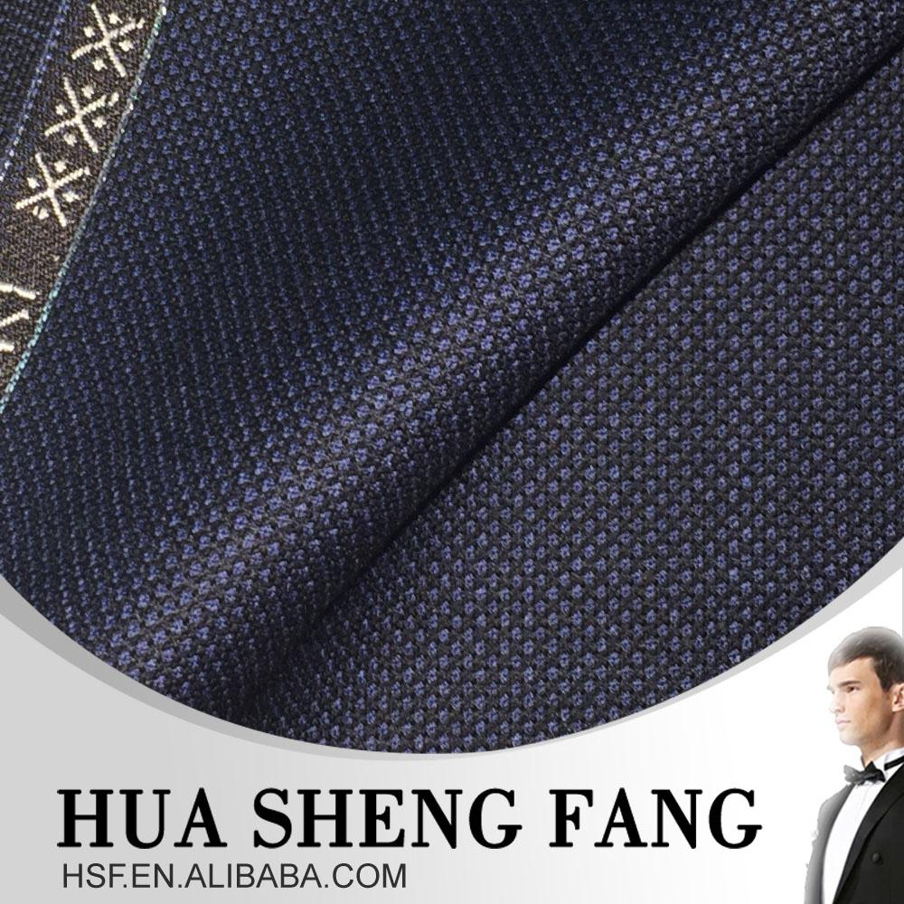High Quality Blue Men's 100W BirdsEye Woven Textile Suits Fabrics