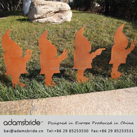 Rust finished and aluminum anodized garden decorative dwarfs and outdoor gnomes