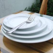 Wholesale custom hotel tableware, microwave safe ceramic dinner plate,bead edge flat ceramic plate