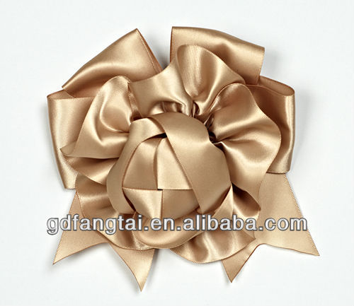 golden satin large ribbon bows for packing and decoration