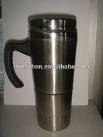16oz stainless steel travel mug wit handle easy used