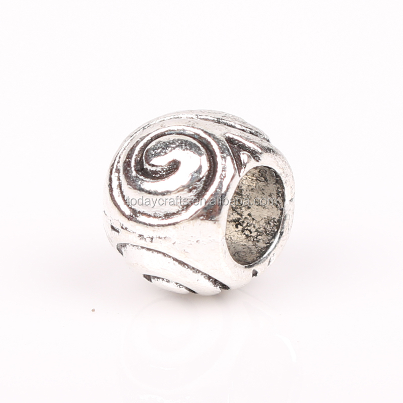 4.5mm big hole round antique silver alloy beads for leather cord bracelets