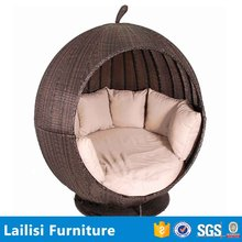 Top sale outdoor patio furniture rattan lounge chair apple shape sun bed