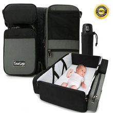 Multifunctional Foldable Baby Bed Bag Baby Travel Diaper Bag with Insulated Pockets