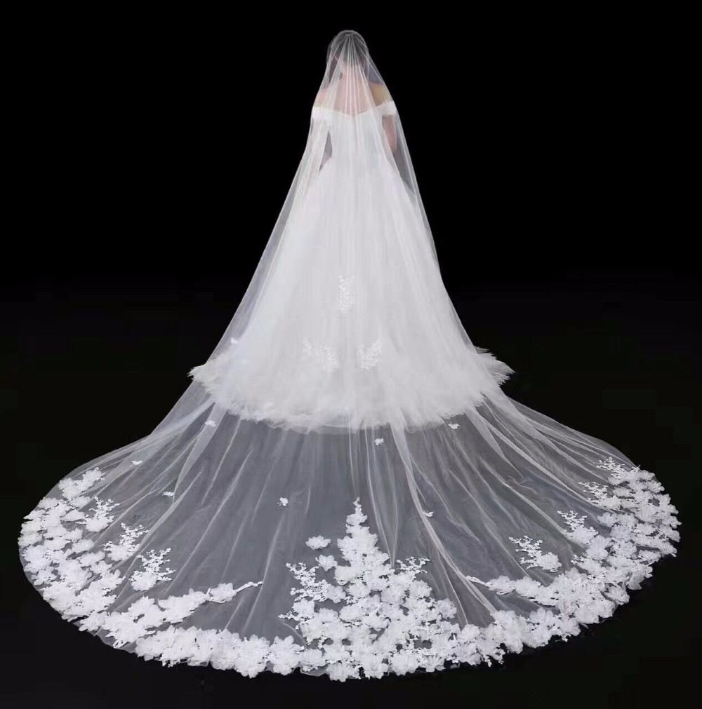 NW1209 Long Bridal Veil Lace Appliqued with Comb