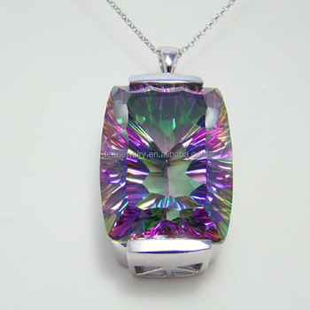 Factory Wholesale Price Mystic Topaz 925 Sterling Silver Pendant