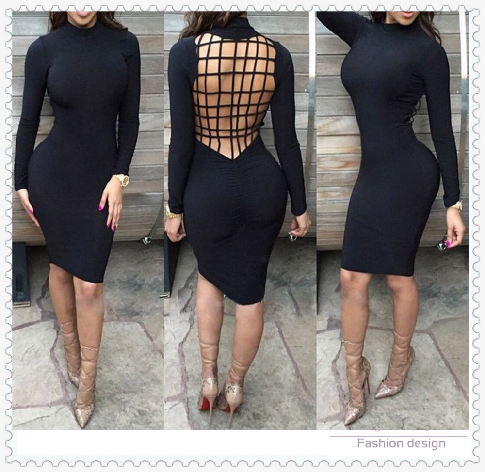 Black tight knee length long sleeve apparel bandage sexy dress women clothing