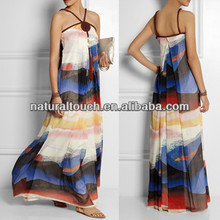 Fashion 2014 beautiful color block maxi dress, beach dress (NTF04121)