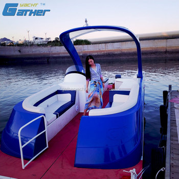 Gather Yacht Made In China new design 7.5m aluminum pontoon tourist boat
