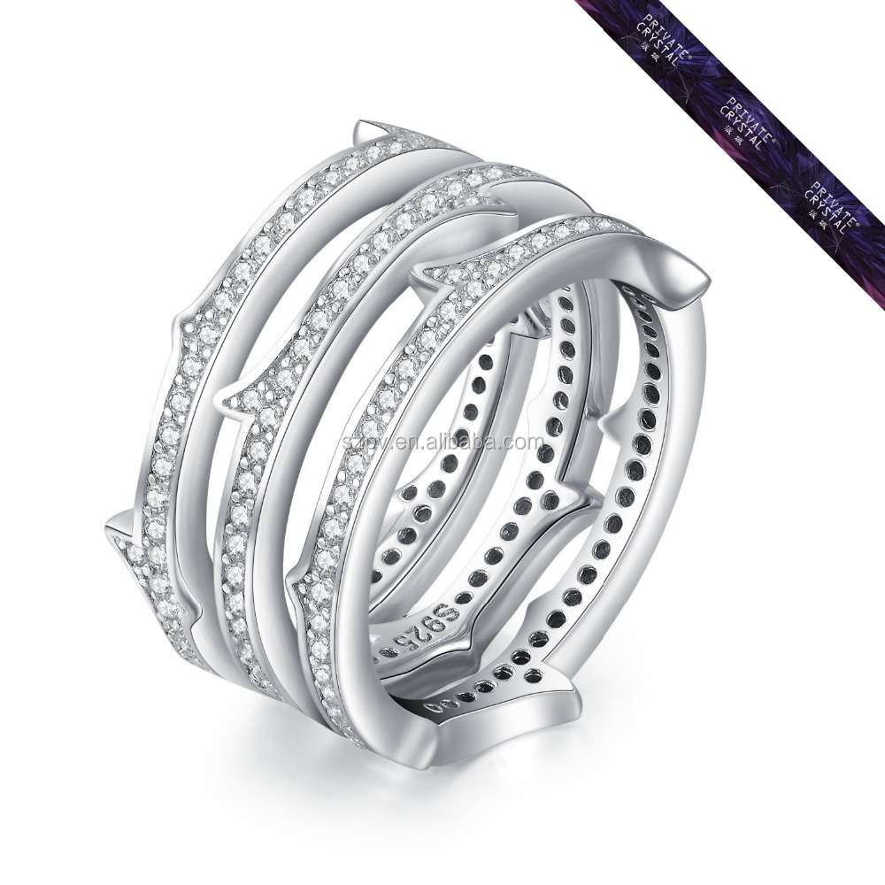 SR0056-Hot Sale 925 Silver Ring for Wedding Women Fashion Total 3 Single Zircon Ring
