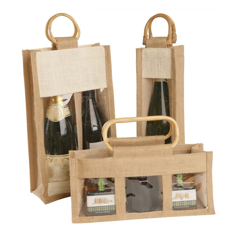 Personalized wine bottle jute bag with window linen jute tote handbags for gift