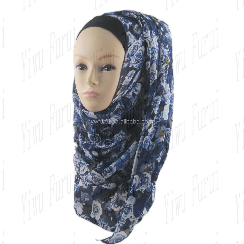 wholesale new design Fashionable Flower Print Chiffon Soft Scarves Muslim Hijab Of Beautiful Charming Islamic Scarf
