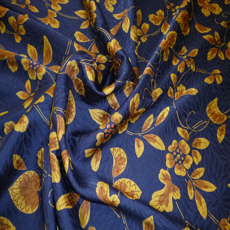 pattern silk of arabesque print chrysanthemum badger for navy print fabric
