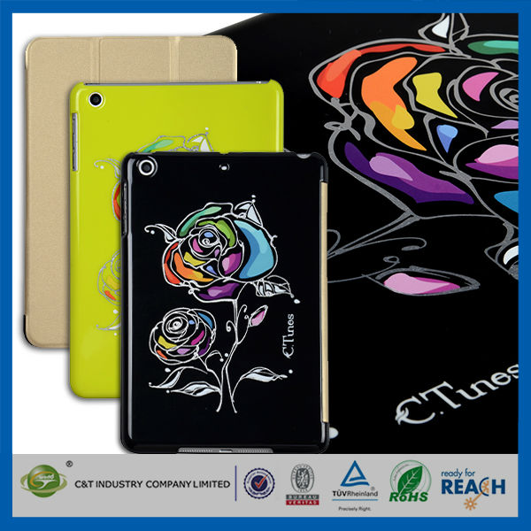 C&T Multicolor rose bloom magnetic stand back cover smart cover for mini ipad
