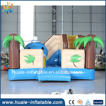 Huale Seaside jumping bouncer with slide and palms/vivid dolphin decorations