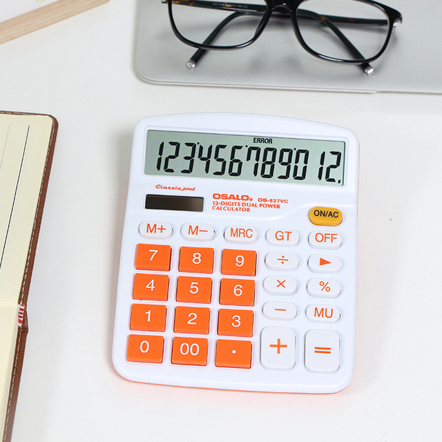 OS-837VC promotion colorful desktop dual power calculator with logo