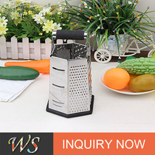 WS-P022 Kitchen Professional Stainless Steel 9.5 Inch Height Extra Strong Rubber Handle 6 Side Cheese Grater