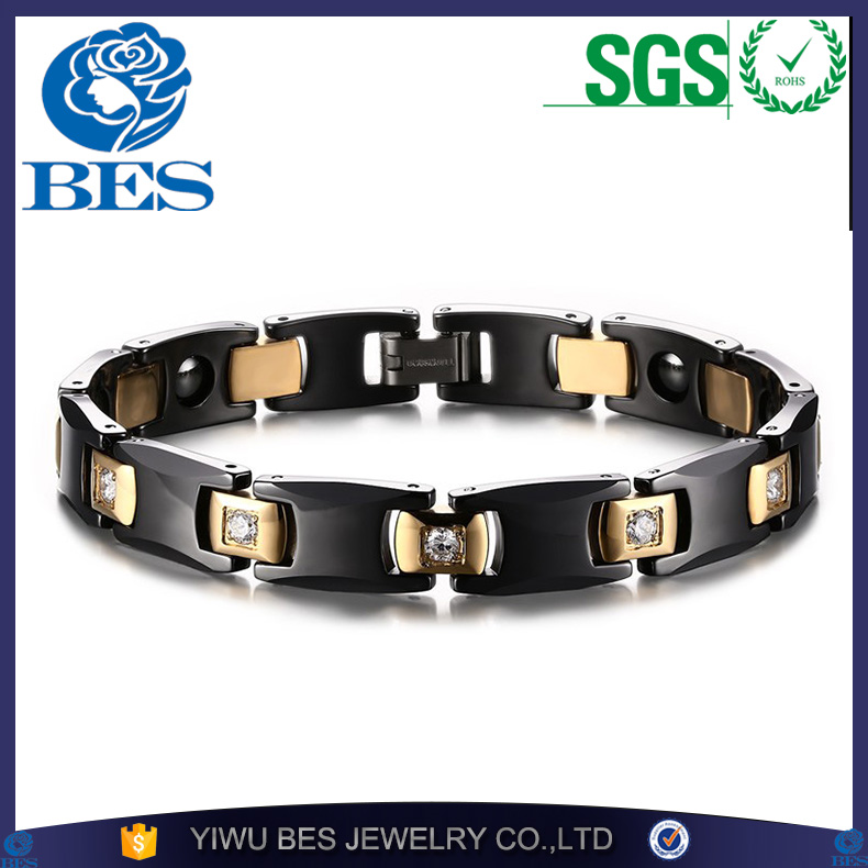 Black & 18K Gold Plated Bio Energy Ceramic Bracelet Bangle CZ Diamond Health Chain Charms Women And Men Jewelry